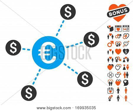 Currency Network Nodes icon with bonus amour clip art. Vector illustration style is flat iconic elements for web design app user interfaces.