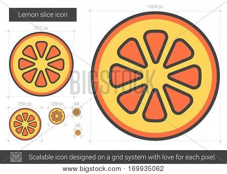 Lemon slice vector line icon isolated on white background. Lemon slice line icon for infographic, website or app. Scalable icon designed on a grid system.
