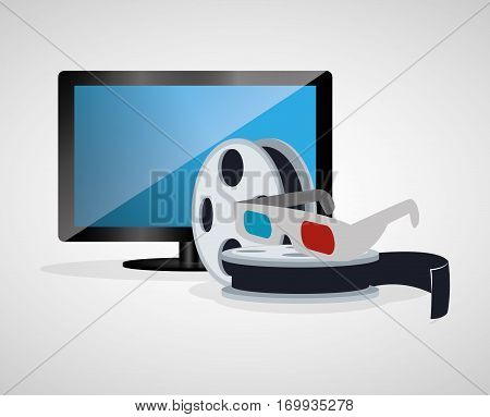 cinema 3d glasses reel film tv plasma vector illustration eps 10