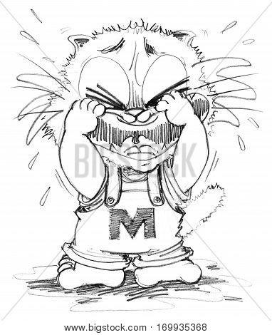 Cat crying cartoon cute character design pencil sketch black art line.
