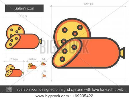 Salami vector line icon isolated on white background. Salami line icon for infographic, website or app. Scalable icon designed on a grid system.