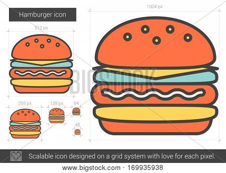 Hamburger vector line icon isolated on white background. Hamburger line icon for infographic, website or app. Scalable icon designed on a grid system.