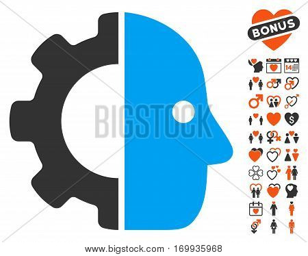 Cyborg pictograph with bonus marriage design elements. Vector illustration style is flat iconic elements for web design app user interfaces.