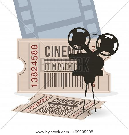 cinema camera film ticket strip vector illustration eps 10
