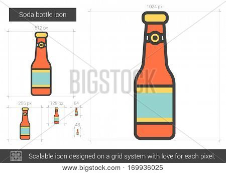 Soda bottle vector line icon isolated on white background. Soda bottle line icon for infographic, website or app. Scalable icon designed on a grid system.