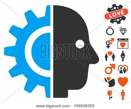 Cyborg Head pictograph with bonus dating icon set. Vector illustration style is flat iconic symbols for web design app user interfaces.