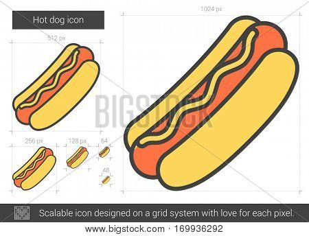 Hot dog vector line icon isolated on white background. Hot dog line icon for infographic, website or app. Scalable icon designed on a grid system.