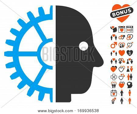 Cyborg Head icon with bonus passion pictograms. Vector illustration style is flat iconic elements for web design app user interfaces.