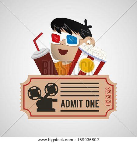 cinema 3d boy soda pop corn ticket poster vector illustration eps 10