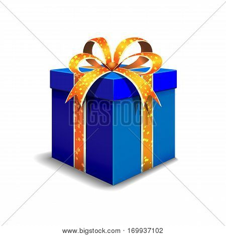 Festive gift box blue. Tied with orange ribbon with stars with a bow on top.