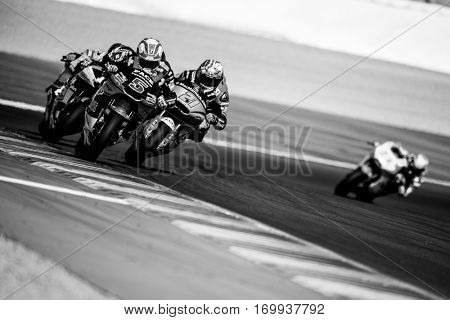 VALENCIA, SPAIN - NOV 13: 5 Zarco, 21 Morbidelli in Moto2 Race during Motogp Grand Prix of the Comunidad Valencia on November 13, 2016 in Valencia, Spain.