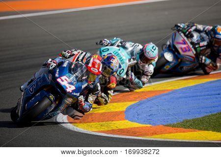 VALENCIA, SPAIN - NOV 13: 54 Pasini, 73 Marquez in Moto2 Race during Motogp Grand Prix of the Comunidad Valencia on November 13, 2016 in Valencia, Spain.