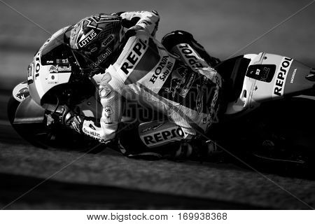 VALENCIA, SPAIN - NOV 13: Marc Marquez during Motogp Grand Prix of the Comunidad Valencia on November 13, 2016 in Valencia, Spain.