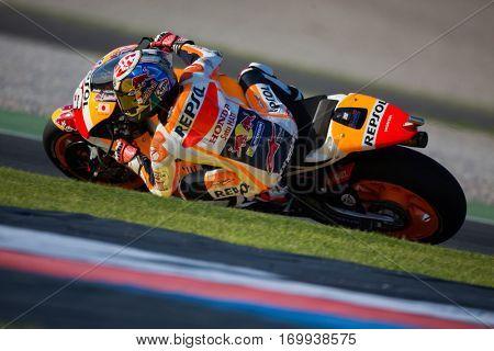 VALENCIA, SPAIN - NOV 13: Dani Pedrosa during Motogp Grand Prix of the Comunidad Valencia on November 13, 2016 in Valencia, Spain.