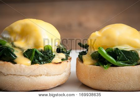 Eggs Benedict Or Eggs Florentine On A White Plate