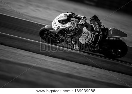 VALENCIA, SPAIN - NOV 13: Julian Simon in Moto2 warm up during Motogp Grand Prix of the Comunidad Valencia on November 13, 2016 in Valencia, Spain.