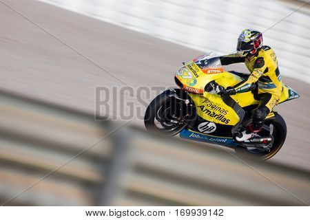 VALENCIA, SPAIN - NOV 13: Edgar Pons in Moto2 warm up during Motogp Grand Prix of the Comunidad Valencia on November 13, 2016 in Valencia, Spain.