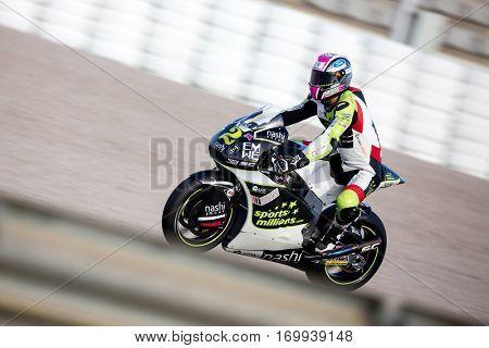 VALENCIA, SPAIN - NOV 13: Jesko Raffin in Moto2 warm up during Motogp Grand Prix of the Comunidad Valencia on November 13, 2016 in Valencia, Spain.
