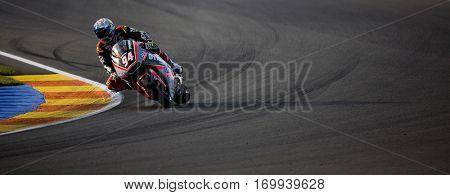 VALENCIA, SPAIN - NOV 13: Jonas Folger in Moto2 warm up during Motogp Grand Prix of the Comunidad Valencia on November 13, 2016 in Valencia, Spain.