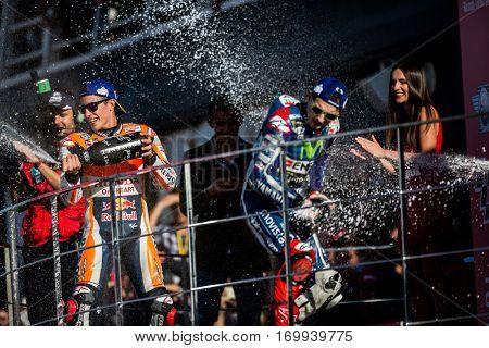 VALENCIA, SPAIN - NOV 13: (L) Marquez. (C) Lorenzo during Motogp Grand Prix of the Comunidad Valencia on November 13, 2016 in Valencia, Spain.