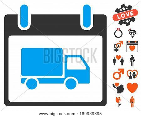 Delivery Car Calendar Day icon with bonus dating clip art. Vector illustration style is flat iconic symbols for web design app user interfaces.