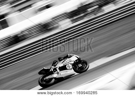 VALENCIA, SPAIN - NOV 13: Alex Rins in Moto2 Race during Motogp Grand Prix of the Comunidad Valencia on November 13, 2016 in Valencia, Spain.