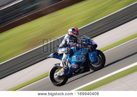VALENCIA, SPAIN - NOV 13: Pasini in Moto2 Race during Motogp Grand Prix of the Comunidad Valencia on November 13, 2016 in Valencia, Spain.