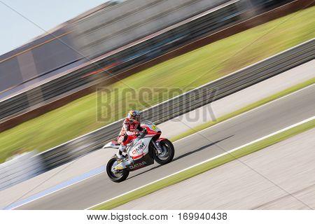 VALENCIA, SPAIN - NOV 13: Simon in Moto2 Race during Motogp Grand Prix of the Comunidad Valencia on November 13, 2016 in Valencia, Spain.
