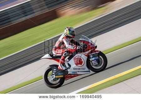 VALENCIA, SPAIN - NOV 13: Wilairot in Moto2 Race during Motogp Grand Prix of the Comunidad Valencia on November 13, 2016 in Valencia, Spain.