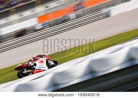 VALENCIA, SPAIN - NOV 13: Nakagami in Moto2 Race during Motogp Grand Prix of the Comunidad Valencia on November 13, 2016 in Valencia, Spain.