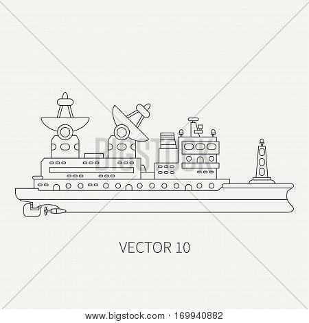 Line flat vector retro icon scientific ship. Research fleet. Cartoon style. Sonar. Telemetry. Ocean. Industrial. Captain. Reconnaissance mineral resources. Illustration and element for your design.