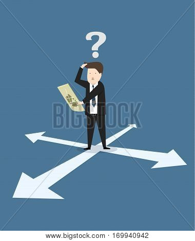Business lost he're looking at the map vector illustration