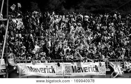 VALENCIA, SPAIN - NOV 13: Maverick Vinales supporters during Motogp Grand Prix of the Comunidad Valencia on November 13, 2016 in Valencia, Spain.