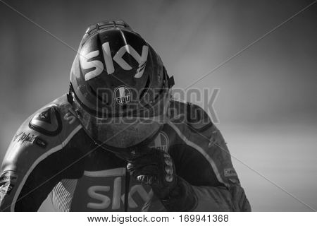 VALENCIA, SPAIN - NOV 13: Dalla Porta in Moto3 race during Motogp Grand Prix of the Comunidad Valencia on November 13, 2016 in Valencia, Spain.