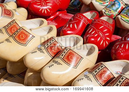 Dutch wooden clogs for sale on a market