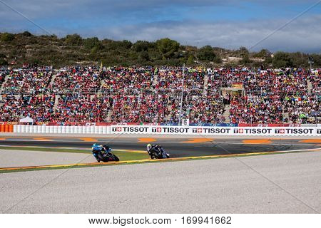 VALENCIA, SPAIN - NOV 13: 1st Zarco in Moto2 Race during Motogp Grand Prix of the Comunidad Valencia on November 13, 2016 in Valencia, Spain.