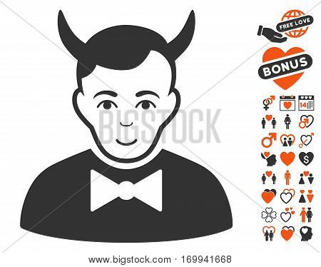 Devil pictograph with bonus amour images. Vector illustration style is flat iconic elements for web design app user interfaces.