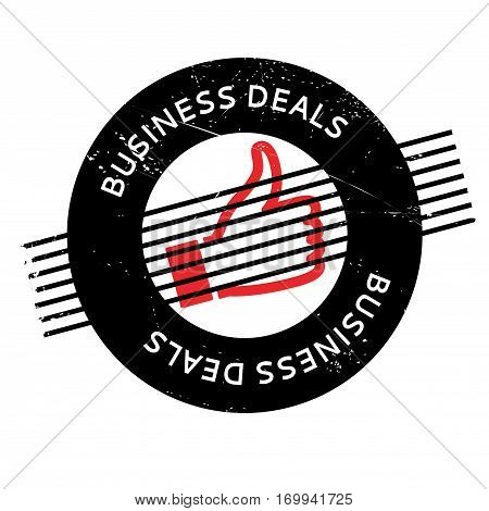 Business Deals rubber stamp. Grunge design with dust scratches. Effects can be easily removed for a clean, crisp look. Color is easily changed.