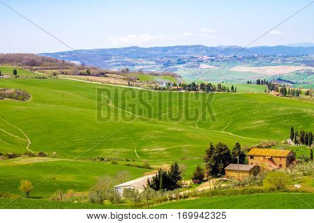 Tuscan landscape the green countryside in the province of Siena Italy