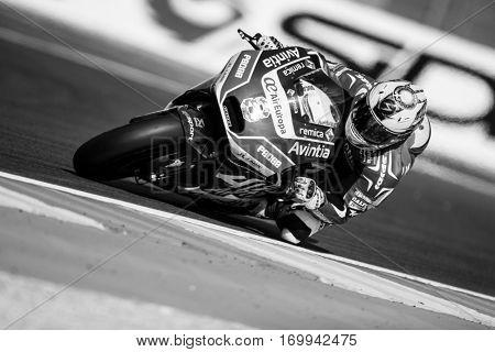 VALENCIA, SPAIN - NOV 12: Hector Barbera during Motogp Grand Prix of the Comunidad Valencia on November 12, 2016 in Valencia, Spain.