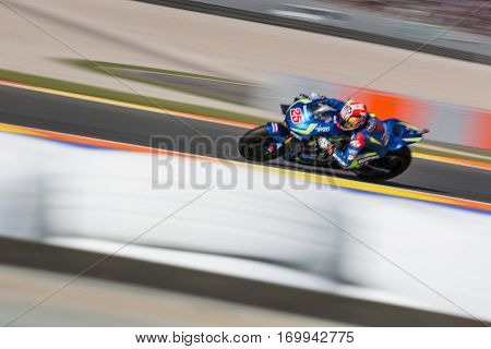 VALENCIA, SPAIN - NOV 12: Maverick Vinales during Motogp Grand Prix of the Comunidad Valencia on November 12, 2016 in Valencia, Spain.