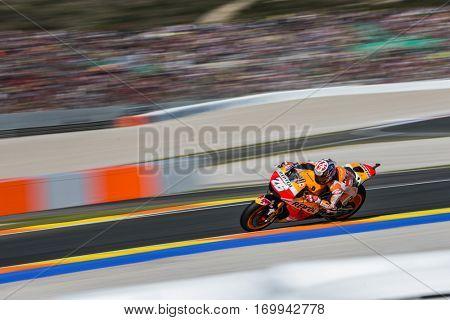 VALENCIA, SPAIN - NOV 12: Dani Pedrosa during Motogp Grand Prix of the Comunidad Valencia on November 12, 2016 in Valencia, Spain.