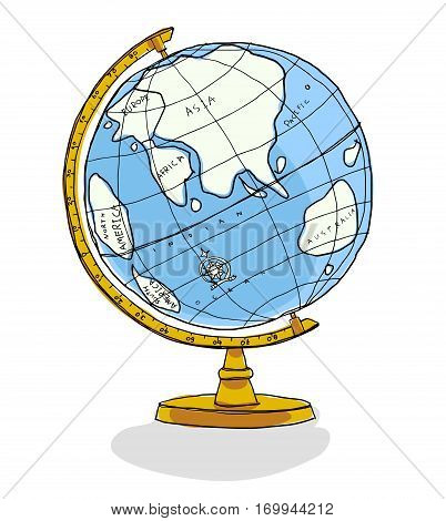 cute World Globe vector illustration, space, america, north, view, ball, south, light, east, digital, continent,
