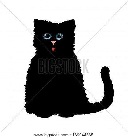 Cute black cat , element, drawing, simple, shape, eyes, elegant, illustration, icon, holidays, stare, young, design,