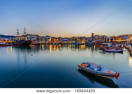 Rethymno's city old venetian port at evening