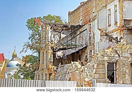 Destroyed old building in Odessa, Ukraine, Eastern Europe