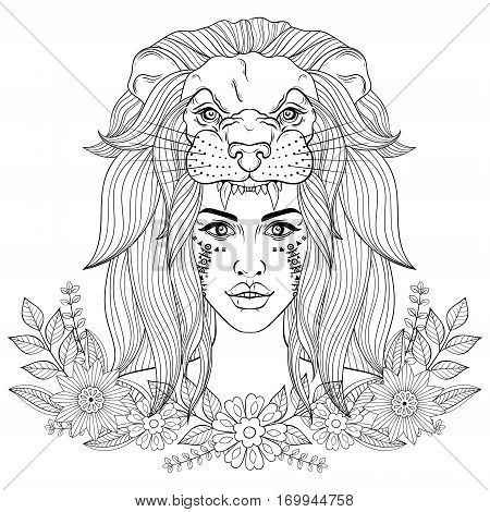 Portrait of boho girl with lion head mask, woman in floral wreath.  Vector illustration for tattoo, adult coloring page, occultism t-shirt print.