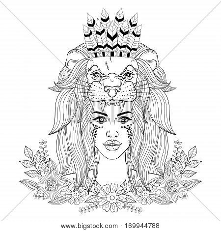 Lion Head Coloring Pages For Adults. Portrait of the vintage boho girl with lion head mask war bonnet and  floral wreath Vintage Boho Girl Lion Vector Photo Bigstock