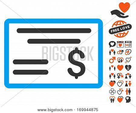 Dollar Cheque pictograph with bonus marriage images. Vector illustration style is flat iconic elements for web design app user interfaces.