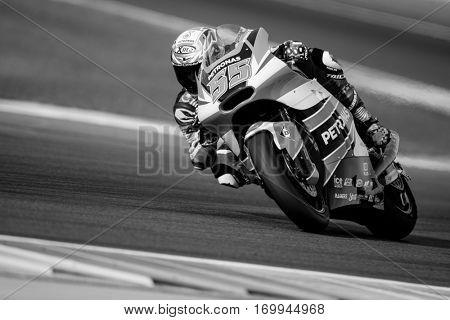 VALENCIA, SPAIN - NOV 12: Hafizh Syahrin in Moto2 Qualifying during Motogp Grand Prix of the Comunidad Valencia on November 12, 2016 in Valencia, Spain.